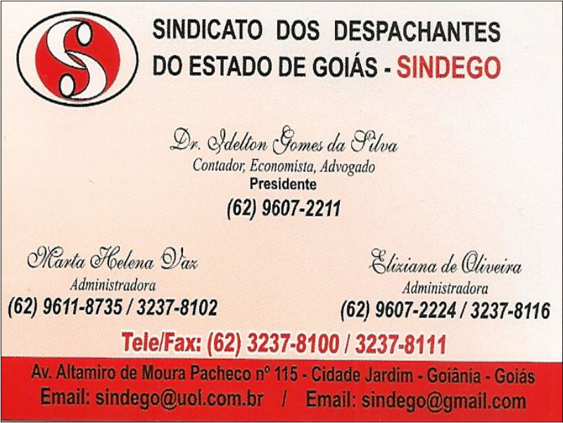 SINDEGO – SINDICATO DOS DESPACHANTES DO ESTADO DE GOIÁS